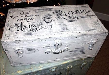 Painted French Trunk -Paris Grey Chalk Paint, Vintage French Ad -in Mascara Black Van Gogh Chalk Paint, and rubbed/distressed to look perfect!