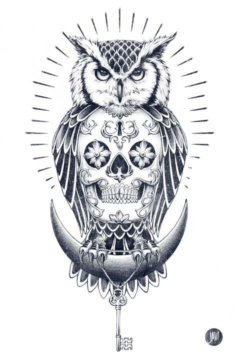 Owl and Skull illustration - Skullspiration.com - skull designs, art, fashion and more