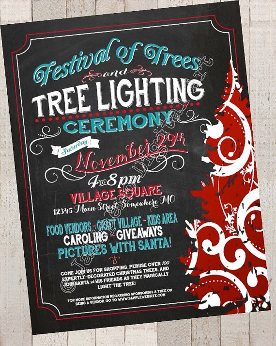festival of trees    tree lighting    christmas holiday craft boutique fair show printable flyer