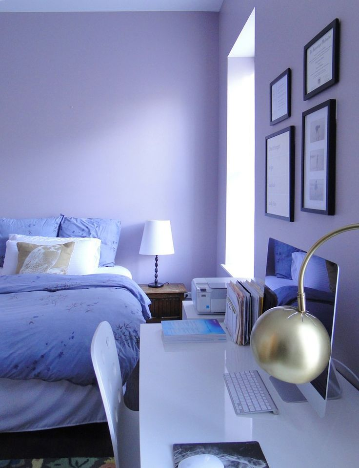 Paint Colors That Match This Apartment Therapy Photo: SW 6545 Majestic  Purple, SW 6963 Sapphire, SW 6968 Hyacinth Tint, SW 7133 Faraway Blue, SW  6816 Dahlia