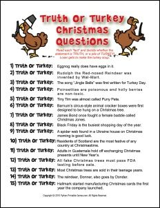 Printable Thanksgiving Trivia | Fun Printable Christmas Games – Truth Or Turkey. Click for more ...