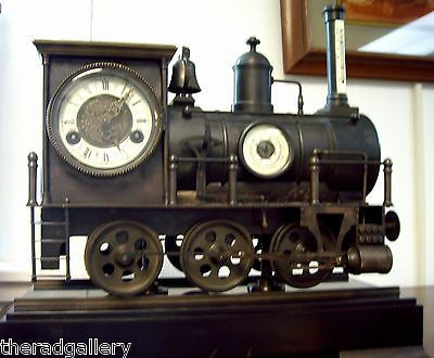 Antique-French-Industrial-Train-Locomotive-Mantle-Clock-Barometer-Thermometer