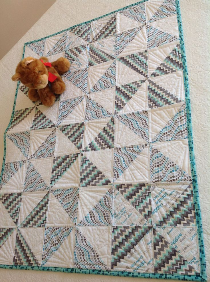 Pinwheel Baby Quilt or Play Mat in Grey, white,& aqua by QuiltsandSewsShop on Etsy