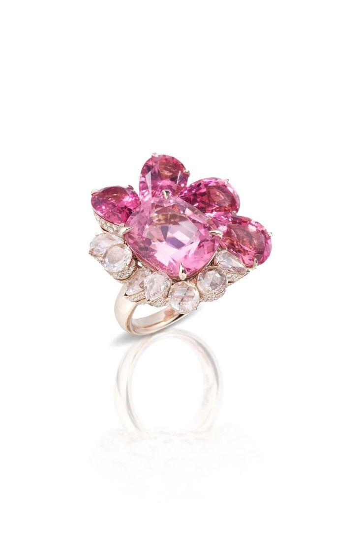 Pomellato Pom Pom ring featuring pink tourmalines and diamonds.