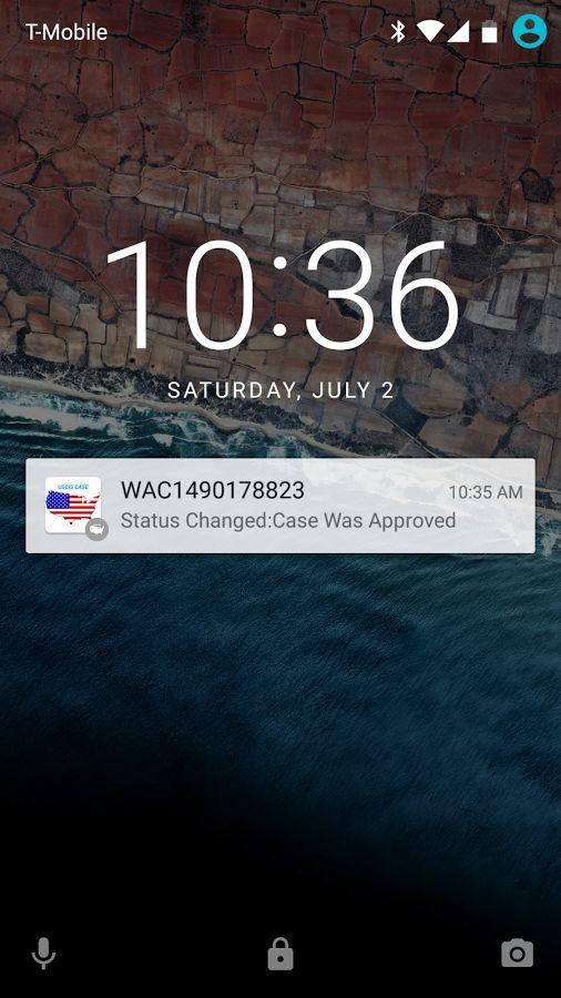USCIS Case Status- screenshot