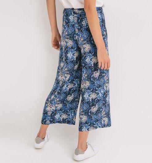 Pantalon large imprimé Femme imprimé marine - Promod