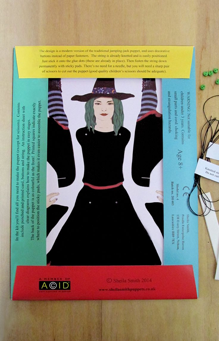 Reverse side of witch puppet-making kit, with contents.  www.sheilasmithpuppets.co.uk  £4.50