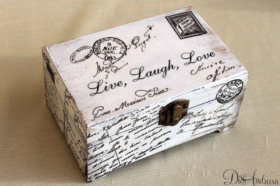 Live,Love, Laugh. Wooden jewelry box, shabby chic box, handmade box, artificially aged, Jewelry box, decoupage box