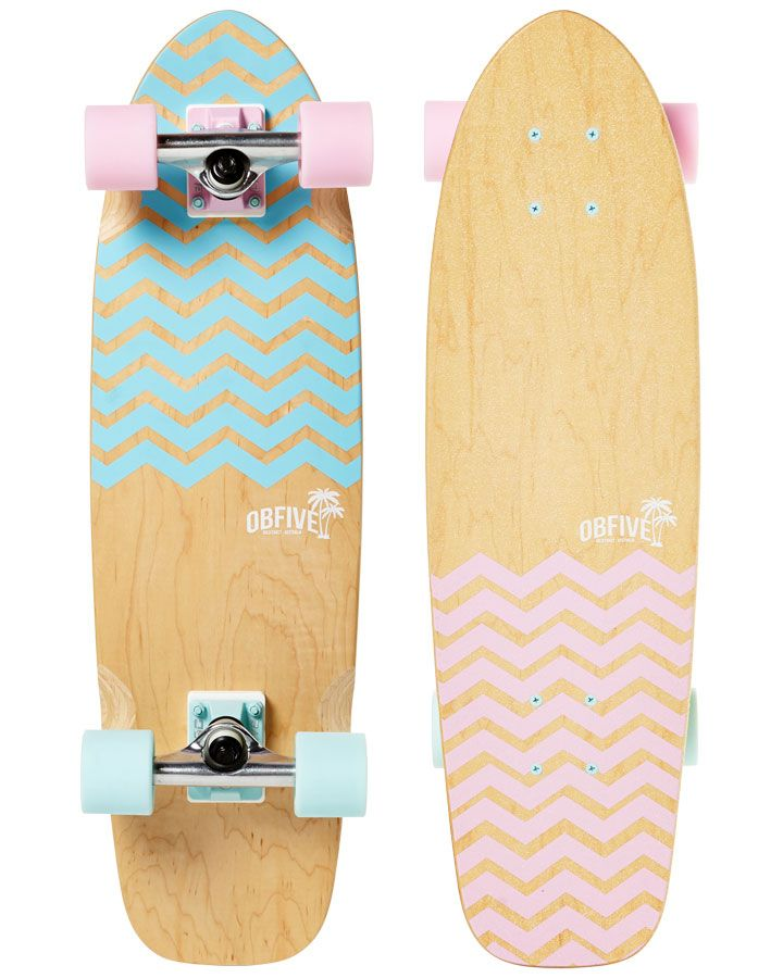Our Chevron Cruiser features soft pastel colors on a clean Canadian maple deck. Designed especially for the girls or fashion forward guys...