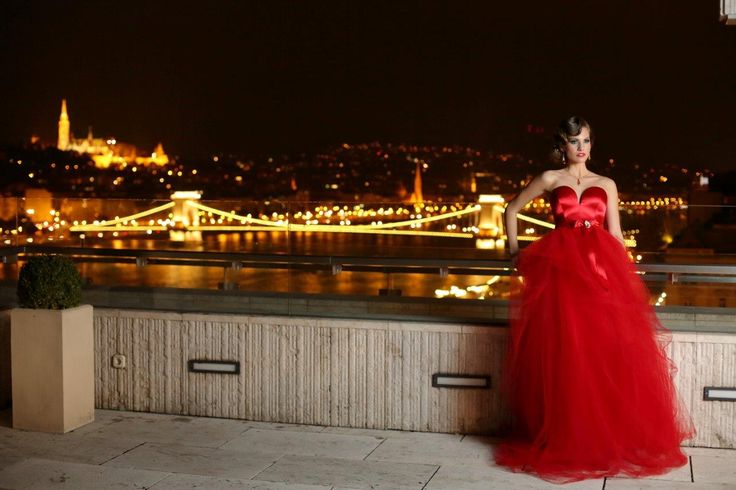 Beautiful Bride in red wedding dress at the Budapest Marriott Hotel's Presidental Suite