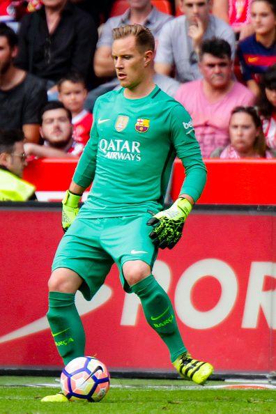 MarcAndre Ter Stegen of FC Barcelona during the match between Real Sporting de Gijón vs Futbol Club Barcelona at estadio El Molinón on September 24...