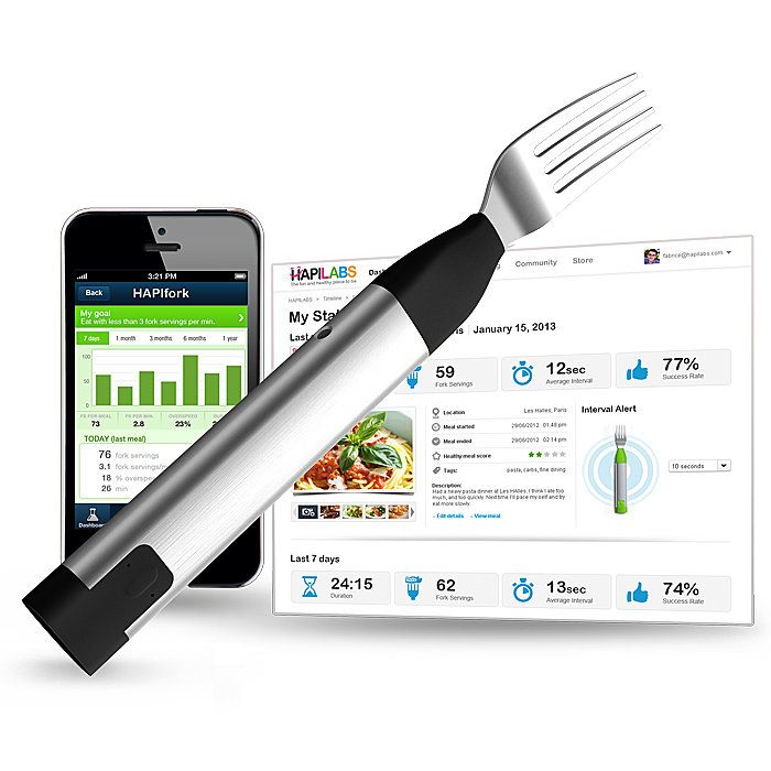 HAPIfork, the electronic fork that helps you monitor & track your eating habits. Alerts you with a gentle vibration when you are eating too fast.