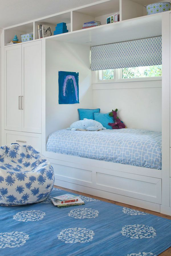 built-in day bed - love the blue on blue on blue with different patterns