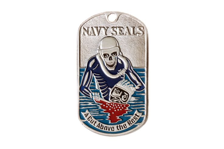 "DOG TAG NAVY SEALS (SKELETON). At the top of the dog tag there is a relief inscription: ""NAVY SEALS"". At the bottom, on the curly ribbon with pointed cloven ends, is the motto: ""A CUT ABOVE THE REST"". The skeleton is the symbol of courage in the face of danger and death. #military #dogtag #amulet #charm #decoration #trinket #keychain #joss #mascot  #talisman #gifts #souvenirs #embossing #skull #navy #diver #death #seals"