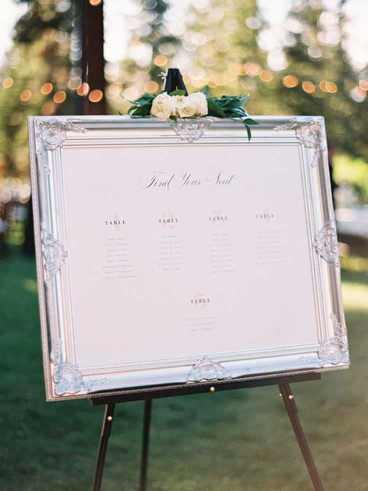 A framed seating chart: http://www.stylemepretty.com/2016/03/09/30-must-haves-to-plan-the-ultimate-classic-wedding/
