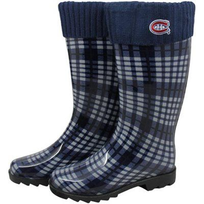 Montreal Canadiens Ladies Navy Blue Plaid Cuffed Rain Boots