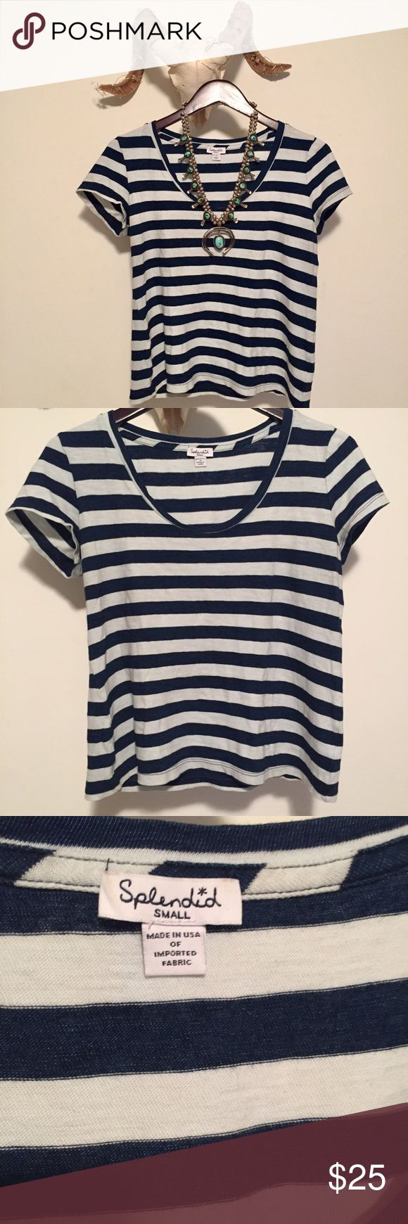 Striped Splendid Tee The cutest little boxy tee by Splendid. Features a wide scoop neck and nautical navy stripes. The perfect staple in any closet! Runs a bit oversized. 🚫modeling 🚫trades Splendid Tops Tees - Short Sleeve