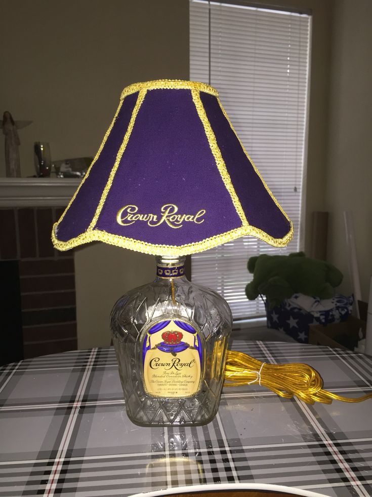 Crown Royal lamp I made for a friend. I stitched the shade from three Crown Royal bags.                                                                                                                                                                                 More