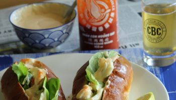 Lobster roll with a Sriracha and Lobster mayonnaise.
