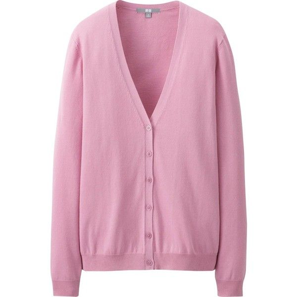 UNIQLO Women Uv Cut V Neck Cardigan (175 ARS) ❤ liked on Polyvore featuring tops, cardigans, jackets, outerwear, sweaters, pink, cardigan top, pink cardigan, cotton v neck cardigan and v-neck cardigan