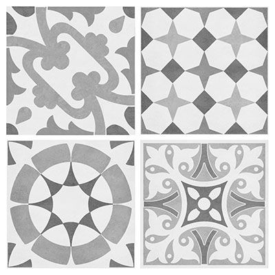 Be on trend with this set of 12 porcelain patchwork tiles. With 4 different designs, it is perfect for creating a statement wall or floor!