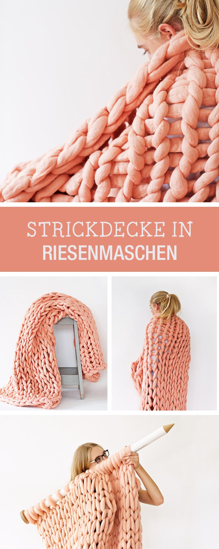 DIY-Anleitung: Decke aus Riesenmaschen stricken, Winteraccessoire das Dich warm hält / DIY tutorial: knitting blanket with huge mashes, winter accessory that'll keep you warm via DaWanda.com