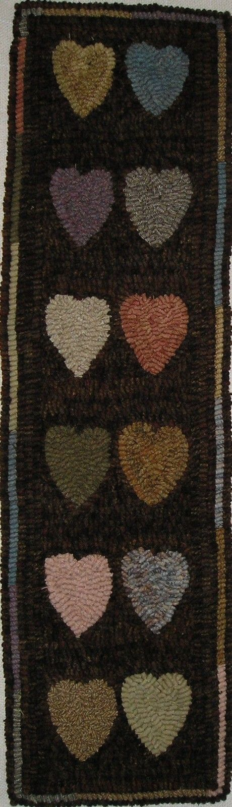 Hand Hooked Rug Early Style Primitive Hit And Miss Hearts