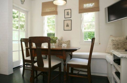 Amazing Built In Banquette With Antique Dining Table Chairs Bamboo Roman Shades TV  Leather Banquette Dining Sets