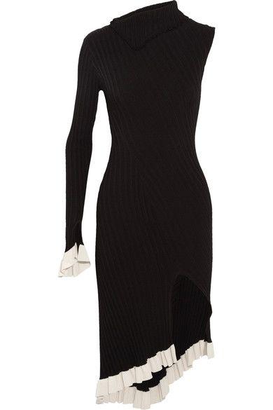Esteban Cortazar - Asymmetric One-shoulder Ribbed Stretch-knit Dress - Black -