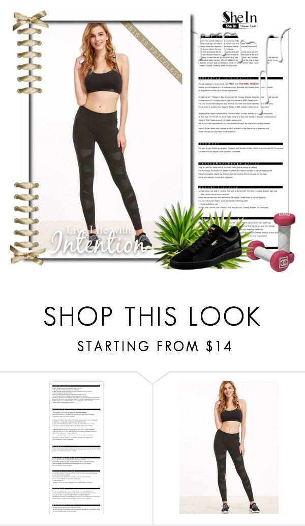 """""""Black Crisscross Mesh Panel Leggings"""" by claudia-86 ❤ liked on Polyvore featuring Arche, Puma, Nivea and shein"""