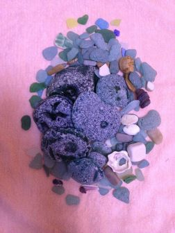 Our sea glass treasure! Those big pieces are about the size of my hand.