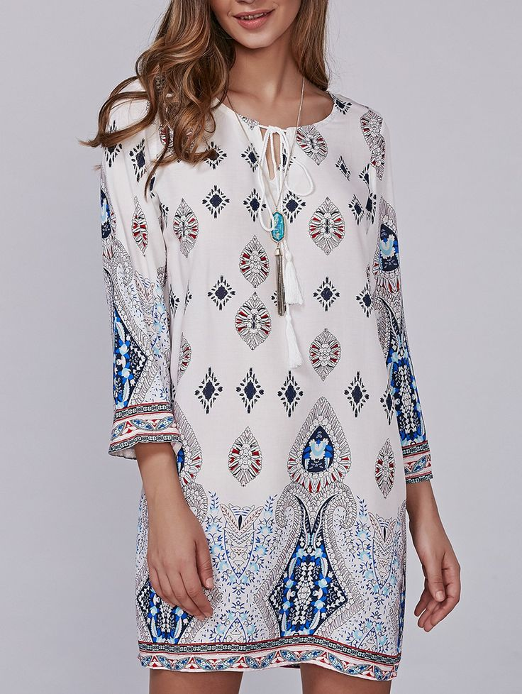 $22.85    Retro Style Geometric Printed Mini Dress is the light, colorful yet elegant mini dress which you must make it yours for coming springs and summers.    #MINIDRESS #SPRINGDRESSES #VINTAGEDRESSES #WOMENFASHION
