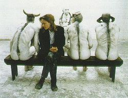 Jane Alexander's sculpture images   Jane Alexander with her Butcher Boys