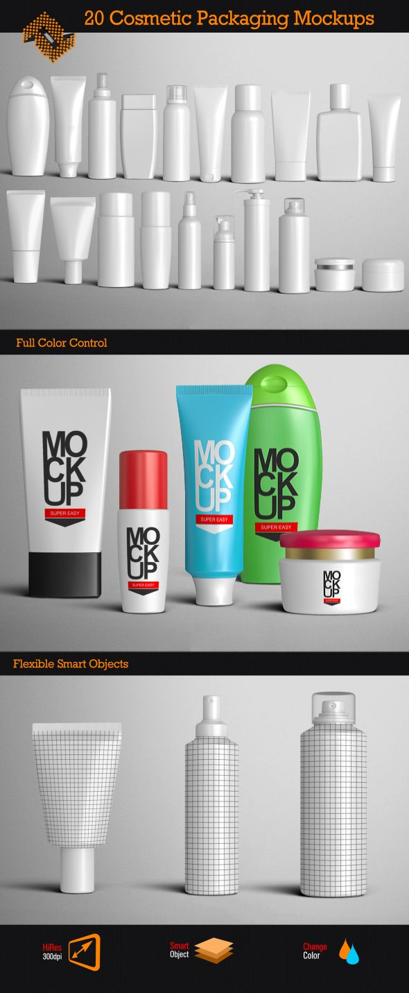 Cosmetic Packages Mockup http://www.digitalphaser.de/product-mockup.html