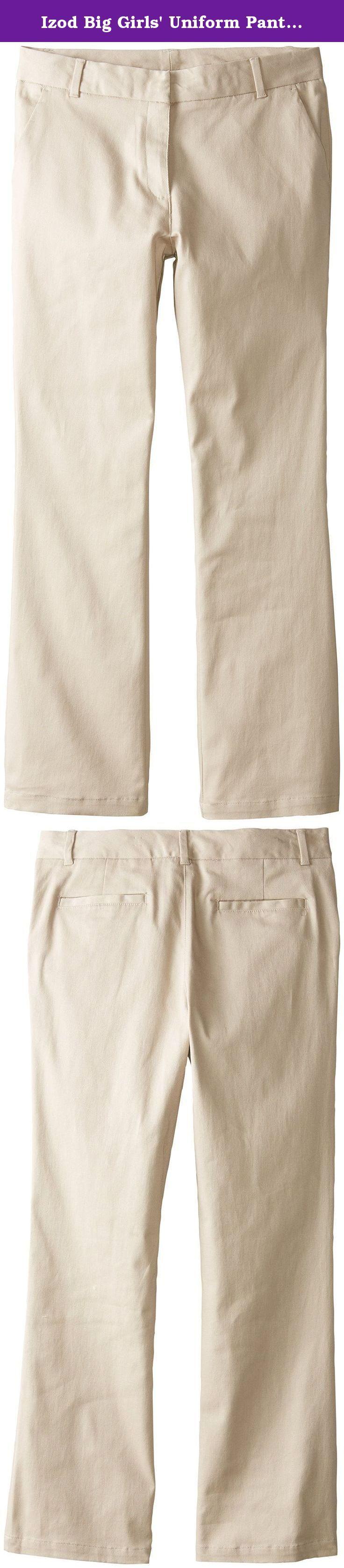 Izod Big Girls' Uniform Pant Plus Size, Khaki, 12.5. Izod uniform pant plus size.