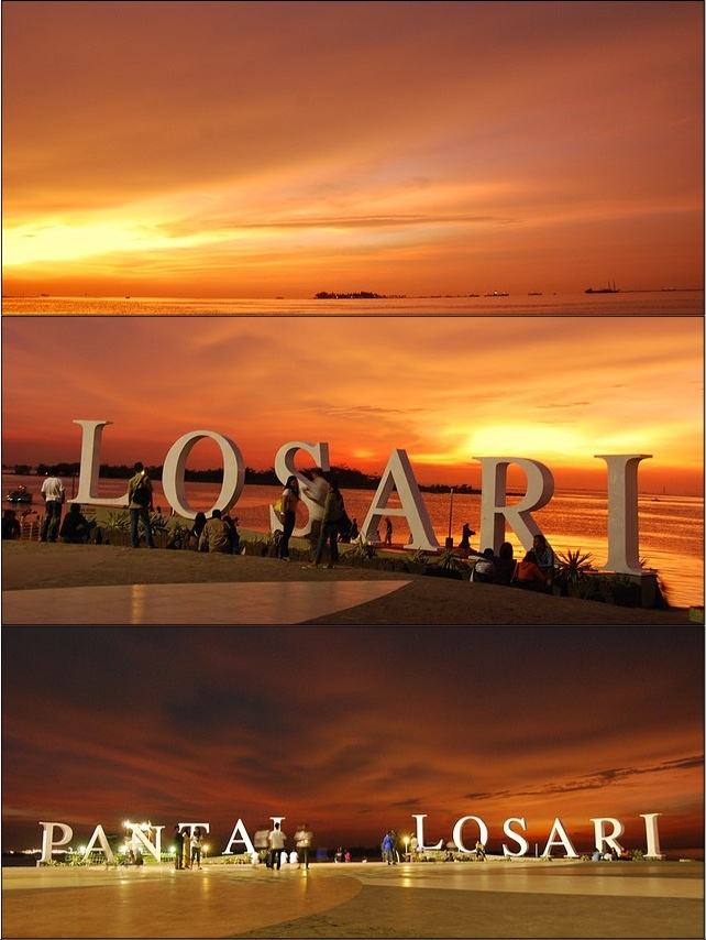 Beautiful sunset at Losari Beach Makassar Sout Sulawesi Indonesia