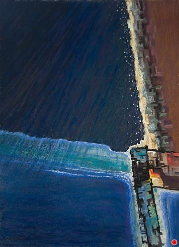 """Night Descending on the Harbour by David Reeves Pastel ~ 30"""" x 22"""""""