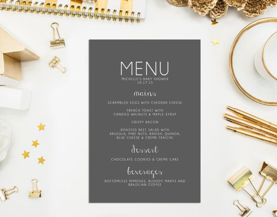 Gepersonaliseerde Menu kaarten, bruiloft menukaart, afdrukbare rustieke Menu kaart, bruids douche menukaart, bruiloftsmenu