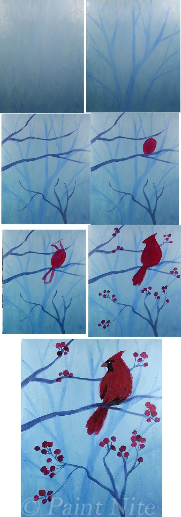 Winter Cardinal Process: Colors: Ultramarine Blue, White, Red, black.