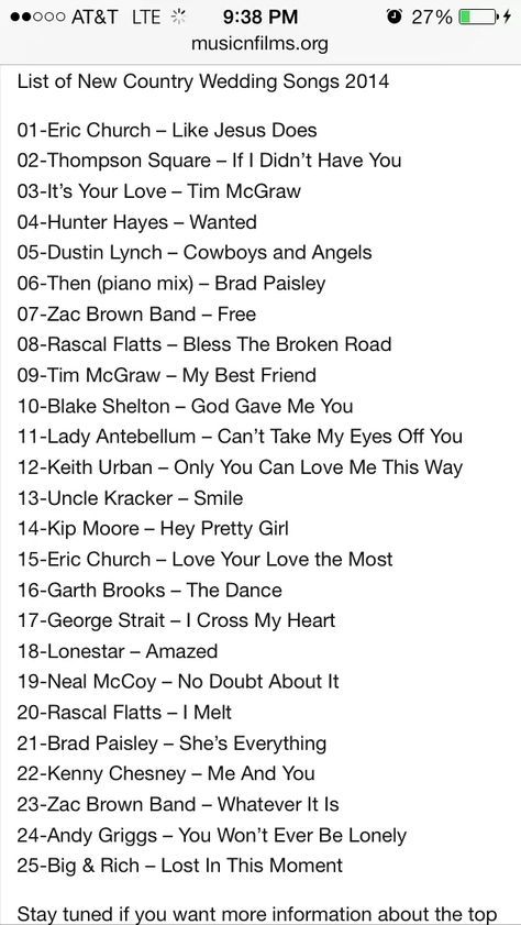 2014 List Of Country Wedding Song Ideas