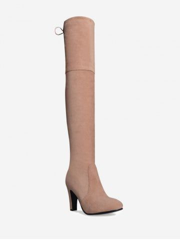 cb787dcba04 Mid Heel Tie Back Thigh High Boots Cheap High Heels
