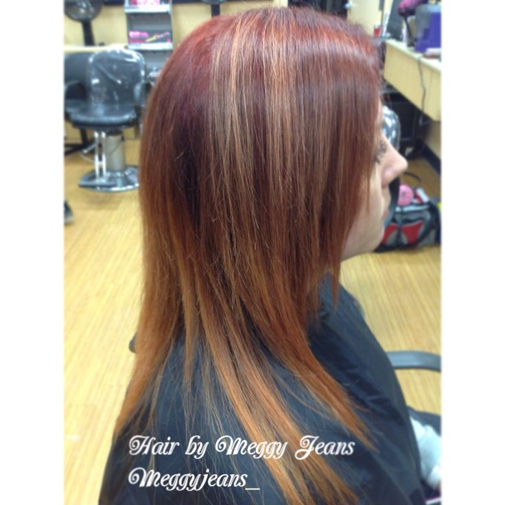 Red to blonde ombre ! #Ombre #Red #Blonde
