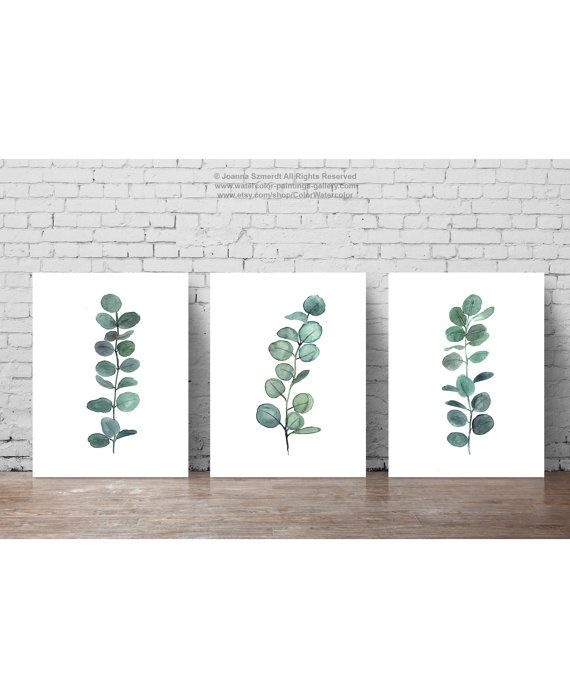 Set 3 Plants Watercolour Painting, Scandi Style Botanical Illustration, Mint Green Art Print, Minimalist Dining Room Scandinavian Decor