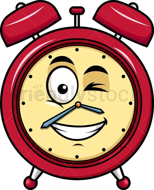 Winking And Smiling Alarm Clock Emoji Cartoon Vector Clipart Friendlystock Clock Drawings Alarm Clock Clock