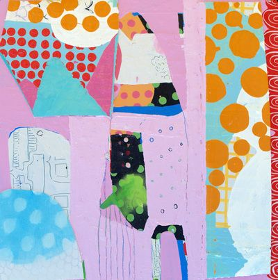 Kate McCarthy - works 2010-2014 Mount Wellington, Looking from Macquarie Street, oil, acrylic, graphite, enamel, canvas, plastic on wood 40cm x 40cm 2014 www.19karen.com.au