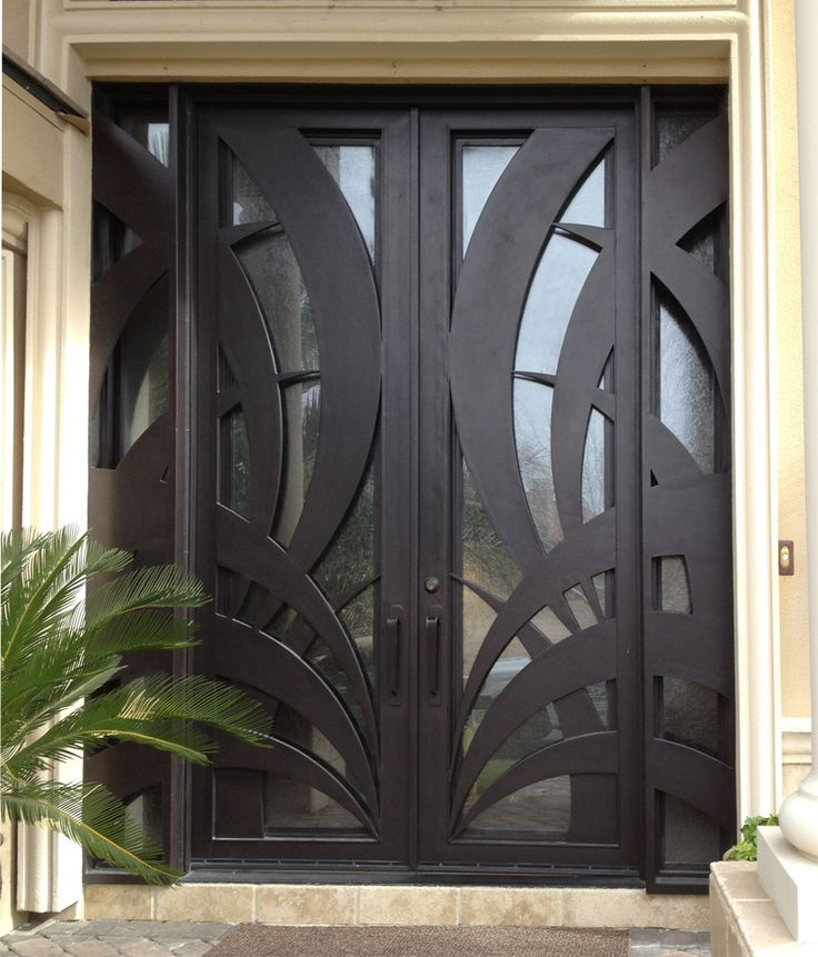 Plasma Cut Iron And Glass Door With Panels Model Tunsia