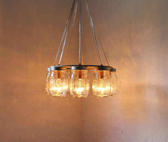 Wagon wheel mason jar chandelier upcycled handcrafted for Country lighting fixtures for home