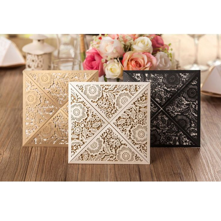==> [Free Shipping] Buy Best 50Pcs Gold White Black Design Rustic Marriage Wedding Invitation Laser Cut Invitation Card Envelope Seals Event & Party Supplies Online with LOWEST Price | 32791634499