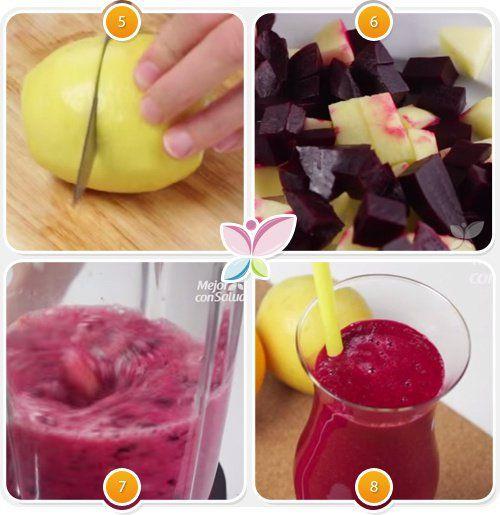 Zumo de naranja, manzana, limón y remolacha para reducir el colesterol - 1