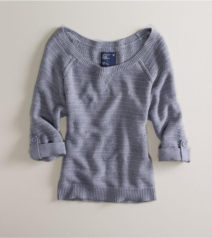 AE Off-Shoulder Dolman Sweater soft denim $49.50